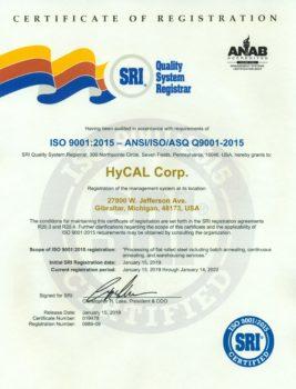 HyCAL ISO 9001-2015 Cert